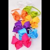 "Headband Horseshoe Jumbo Grosgrain Bow-tie Citrus/DZ **Citrus** Bow Size-6""x 5"",2 White,2 Fuchsia,2 Purple,2 Blue,2 Yellow,1 Lime,1 Orange,7 Color Asst,Hang Tag & UPC Code,W Clear Box"