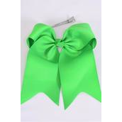 "Hair Bow Extra Jumbo Long Tail Cheer Type Bow Kelly Green Grosgrain Bow-tie/DZ **Kelly Green** Alligator Clip,Size-6.5"" x 6"" Wide,Clip Strip & UPC Code"