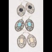 "Earrings Metal Antique Filigree Flower Like Semiprecious Stone/DZ match 75030 **Fish Hook** Size-1.75""x 1"" Wide,4 Black,4 Ivory,4 Turquoise Asst,Earring Card & OPP Bag & UPC Code -"