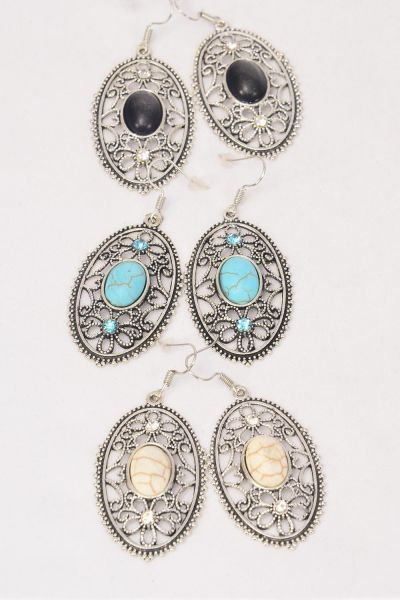"Earrings Metal Antique Filigree Flower Like Semiprecious Stone/DZ match 75030 **Fish Hook** Size-1.75""x 1"" Wide,4 Black,4 Ivory,4 Turquoise Asst,Earring Card & OPP Bag & UPC Code -"