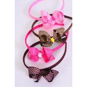"""Headband Horseshoe Bow-tie Mini Polka-dots Grosgrain Bow Brown & Pink Mix/DZ **Pink & Brown Mix** Bow Size-4""""x 3"""" Wide,3 of each Color Asst,Hang tag & UPC Code,Clear Box"""