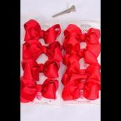 """Hair Bows 48 pcs Grosgrain Bowtie Red/DZ **Red** Alligator Clip,Bow Size-3""""x 2"""" Wide,6 Red,6 Crimson Color Asst,4 pcs per card,12 card=Dozen"""