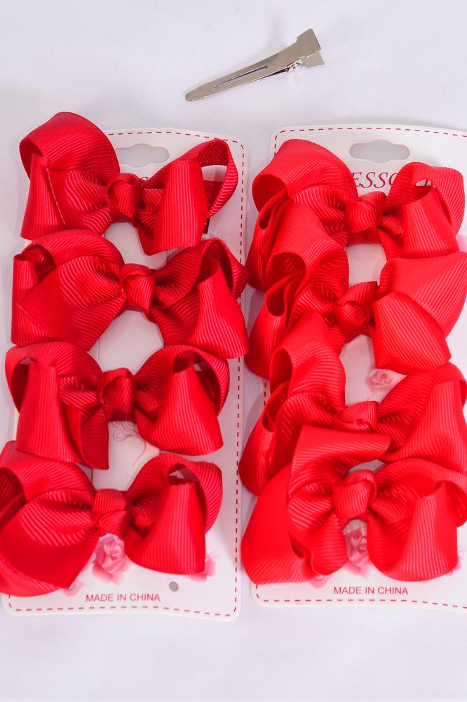 "Hair Bows 48 pcs Grosgrain Bowtie Red/DZ **Red** Alligator Clip,Bow Size-3""x 2"" Wide,6 Red,6 Crimson Color Asst,4 pcs per card,12 card=Dozen"