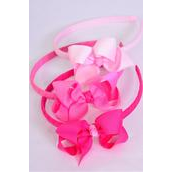 """Headband Horseshoe Grosgrain Bow-tie Pink Mix/DZ **Pink Mix** Bow Size-4""""x 3"""" Wide,4 Fuchsia,4 Hot Pink,4 Pearl Pink Color Asst,Hang Tag & UPC Code,W Clear Box"""