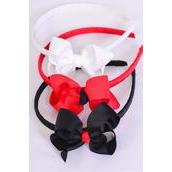 """Headband Horseshoe Jumbo Grosgrain Bow-tie Red White Black Mix/DZ Bow Size-4""""x 3"""" Wide,4 Red 4 White 4 Black Mix,Hang tag & UPC Code,Clear Box"""