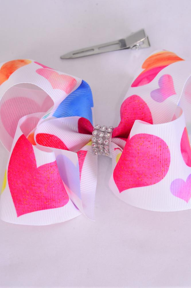 "Hair Bow Jumbo Color Hearts Grosgrain Bow-tiel/DZ **Alligator Clip** Size-6""x 5"" Wide,Clip Strip & UPC Code"