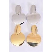 "Earrings Metal Oval Circle G/S Mix Post/DZ **Post** Size-2""x 1.5"" Wide,6 Gold & 6 Silver Mix,Earring Card & OPP Bag & UPC Code"