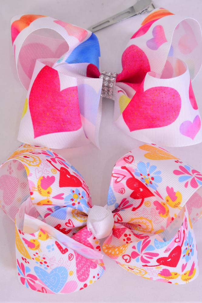 "Hair Bow Jumbo Love & Hearts Grosgrain Bow-tie/DZ **Alligator Clip** Size-6""x 5"" Wide,6 of each Pattern Asst,Clip Strip & UPC Code"