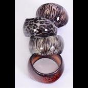 "Bracelet Curvy Wavy Bangle Poly Animal Prints/PC Size-2.75 x 2"" Dia Wide,Choose Patterns,OPP Bag & UPC Code"
