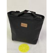 "Lunch Bag Insulated W Silicone Coaster Black/PC **Black** Size-11""x 10""x 4"" Wide, OPP bag"