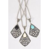 """Necklace Silver Chain Metal Antique Semiprecious Stone/DZ Pendant-1.75"""" x 1.5"""" Wide,Chain-18"""" Extension Chain,4 Ivory,4 Black,4 Turquoise Asst,Hang Tag & OPP Bag & UPC Code"""