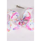 "Hair Bow Jumbo Unicorn Flowers Grosgrain Bow-tie/DZ **Alligator Clip** Size-6""x 5"" Wide,Clip Strip & UPC Code"