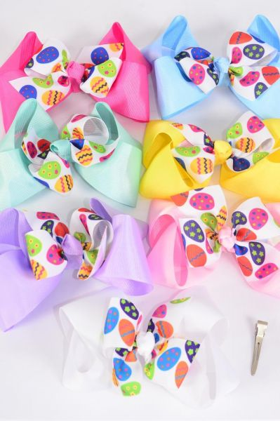 "Hair Bow Jumbo Double Layered Easter Colorful Easter Eggs Grosgrain Bow-tie Pastel/DZ **Pastel** Size-6""x 6"" Wide,Alligator Clip,2 White,2 Baby Pink,1 Blue,1 Yellow,2 Lavender,2 Hot Pink,2 Mint Green,7 Color Asst,Clip Strip & UPC Code"