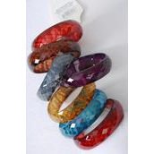 "Bracelet Bangle Acrylic Transparent Diamond Cut Dark Multi/DZ **Multi** Size-2.75"" x 1"" Wide,2 Black,2 Red 2 Brown,2 Camel,2 Blue,2 Purpleof Color Asst,Hang Tag & OPP Bag & UPC Code"