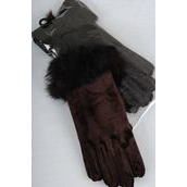 Velvet Glove Brown With Real Rabbit Fur Stretch/PC **Department Store Quality** OPP Bag & UPC Code