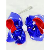 "Hair Bow Jumbo Double Layered Metallic Patriotic-Star Grosgrain Bow-tie/DZ **Alligator Clip** Size-6""x 5"" Wide,Clip Strip & UPC Code"