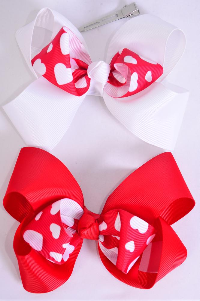 "Hair Bow Jumbo Double Layered Center Hearts Print Grosgrain Bow-tie/DZ **Alligator Clip** Size-6""x 6"" Wide,6 of each Pattern Asst,Clip Strip & UPC Code"