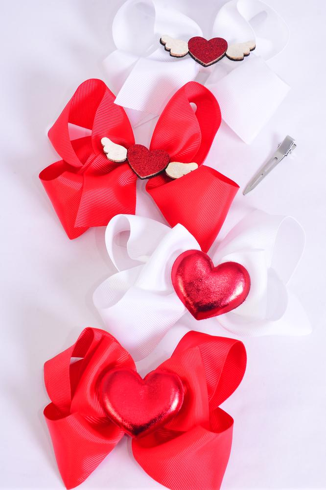 "Hair Bow Jumbo Metallic Heart & Angel Wings Mix Grosgrain Bow-tie/DZ **Alligator Clip** Size-6""x 6"" Wide,3 Of each Style Asst,Clip Strip & UPC Code"
