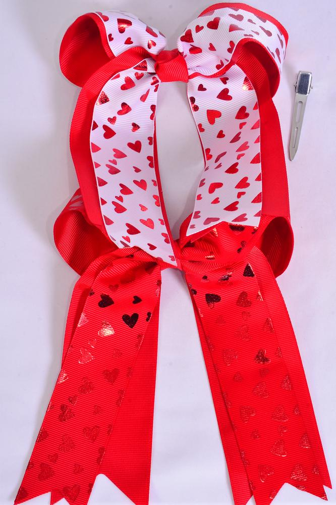 "Hair Bow Jumbo Long Tail Double Layered Metallic Heart Grosgrain Bow-tie Red White Mix/DZ **Alligator Clip** Size-6.5""x 6"" Wide,6 Red,6 White Asst,Clip Strip & UPC Code"