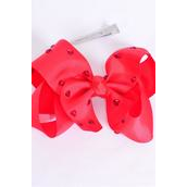 "Hair Bow Jumbo Studded Red Heart Stones Grosgrain Bow-tie Red/DZ **Red** Alligator Clip,Size-6""x 5"" Wide,Clip Strip & UPC Code"