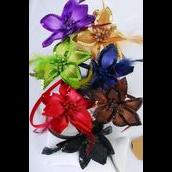 "Headband Horseshoe Satin Sequin Flower Feathers Dark Multi/DZ **Dark Multi** Flower Size-5"" Wide,2 Black,2 Brown,2 Navy,2 Burgundy,2 Purple,1 Green,1 Camel,7 Color Asst,hang tag & UPC Code,W Clear Box"