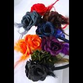 "Headband Horseshoe Flower Glitter Trim w Real Feathers Dark Multi/DZ **Dark Multi** Single Rose Size-3"" Wide,2 Red,2 Black,2 Orange,2 Brown,1 Gray,1 Olive,1 Navy,1 Purple Mix, hang tag & UPC Code,W Clear Box -"