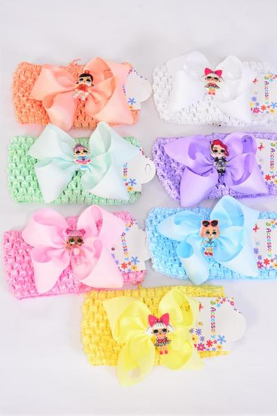 "Ballerina Headband Grosgrain Bowtie Fun Girl Charm Pastel/DZ **Pastel** Stretch,Ballerina-2.75"" Wide,Bow-5""x 5"",2 White,2 Pink,2 Blue,2 Purple,2 Yellow,1 Peach,1 Mint Green Mix,Hang Tag & OPP Bag UPC Code"