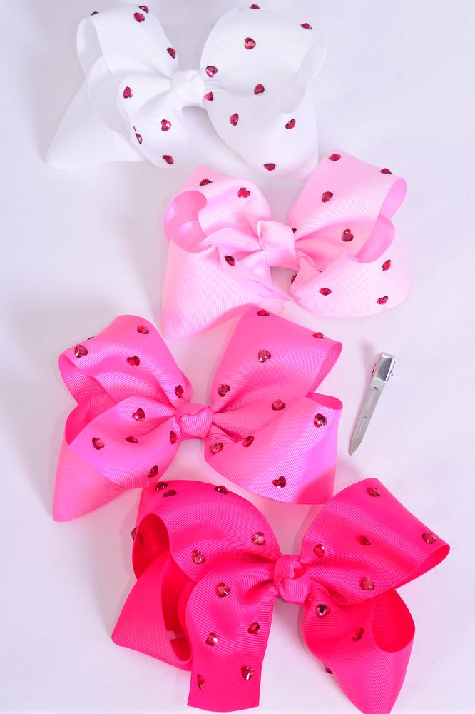"Hair Bow Jumbo Studded Pink Heart Stones Grosgrain Bow-tie Pink Mix/DZ **Pink Mix** Alligator Clip,Size-6""x 6"" Wide,3 White,3 Pearl Pink,3 Hot Pink,3 Fuchsia Color Asst,Clip Strip & UPC Code"