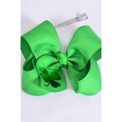 "Hair Bow Jumbo Metallic Clover Grosgrain Bow-tie/DZ **Alligator Clip** Size-6""x 5"" Wide,Clip Strip & UPC Code"