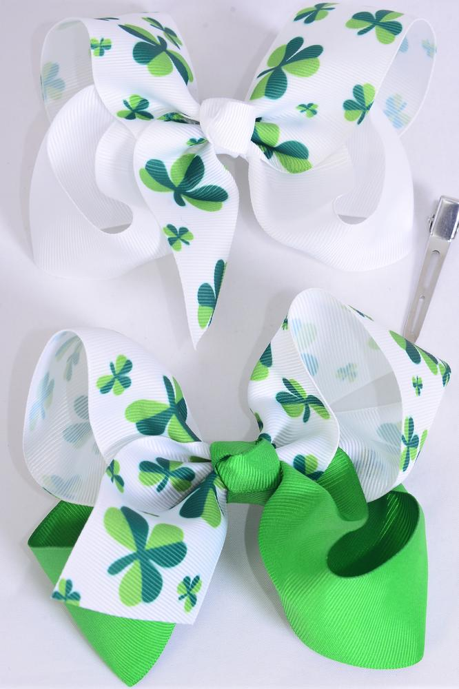 "Hair Bow Jumbo Shamrock 2 Tone Grosgrain Bow-tie Shamrock/DZ **Alligator Clip** Size-6""x 5"" Wide,6 of each Pattern Asst,Clip Strip & UPC Code"