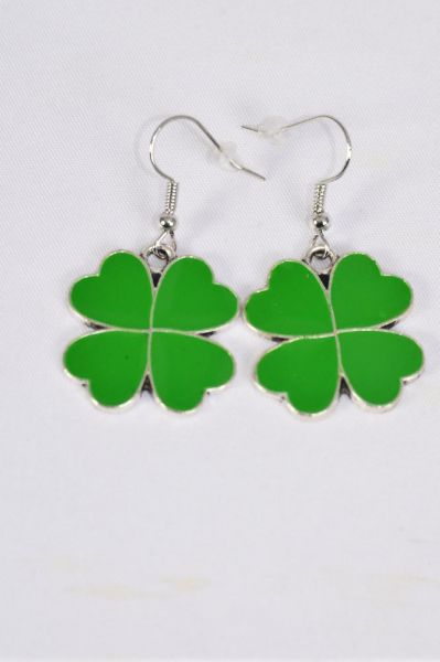"Earrings Clover Epoxy/DZ match 70126 25009 **Fish Hook** Size-1"" Wide,Earring Card & OPP Bag & UPC Code"