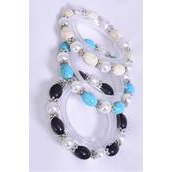 Bracelet 10 mm Glass Pearl & 12 mm  Oval Semiprecious Stone Mix Stretch/DZ **Stretch** 4 Ivory,4 Black,4 Turquoise Mix,Hang Tag & Opp Bag & UPC Code