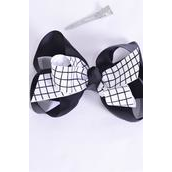 "Hair Bow Jumbo White Grid Fabric Double Layered Grosgrain Bowtie Black/DZ **White Grid** Alligator Clip,Bow-6""x 5"" Wide,Clip Strip & UPC Code"