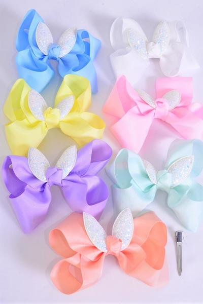 "Hair Bow Jumbo Metallic Easter Bunny Ears Grosgrain Bow-tie Pastel/DZ **Pastel** Size-6""x 6"",Alligator Clip,2 White,2 Baby Pink,2 Lavender,2 Blue,2 Yellow,1 Peach,1 Mint Green,7 Color Asst,Clip Strip & UPC Cod"