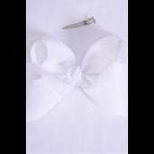 "Hair Bow Jumbo White Grosgrain Bow-tie/DZ **White** Size-6""x 5"" Wide,Alligator Clip,Clip Strip & UPC Code"