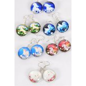"Earrings Unicorn Double Sided Glass Dome/DZ match 70268 **Fish Hook** Size-0.75"" Wide,2 of each Design Asst,Earring Card & OPP Bag & UPC Code"