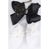 "Hair Bow Jumbo Double Layered Center Clear Stones Mesh Gold Stars Grosgrain Bow-tie/DZ **Black & White** Alligator Clip,Size-6""x 6"" Wide,6 Black 6 White Color Asst,Clip Strip & UPC Code"