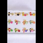 Rings 36 pcs Enamel Sleeper & Purse & Diamond Cluster Ring Mix/DY **Adjustable** 2 of each Color Mix,1 Dz Velvet Display Window Box & OPP bag & UPC code -
