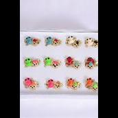 Rings 36 pcs Enamel Frog & Ladybug & Diamond Ring Mix/DY **Adjustable** 2 of each Color Mix,1Dz Velvet Display Window Box & OPP bag & UPC code -