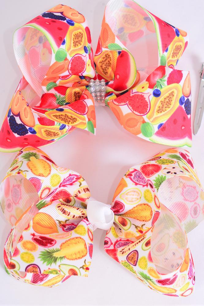"Hair Bow Jumbo Tropical Fruitrus Grosgrain Bow-tie/DZ **Alligator Clip** Size-6""x 5"" Wide,6 of each Pattern,Clip Strip & UPC Code"