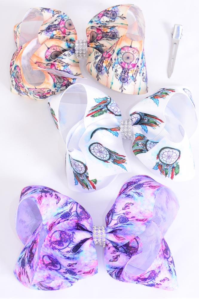 "Hair Bow Jumbo Dream Catcher Grosgrain Bowtie/DZ **Alligator Clip** Size-6""x 5"" Wide,4 Of each Pattern Asst,Clip Strip & UPC Code"