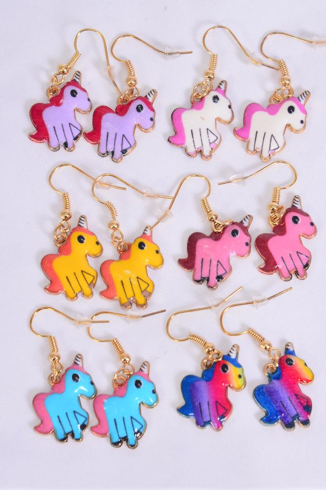 Earrings Baby Unicorn Enamel Color Asst/DZ match 25757 **Multi** Fish Hook, 2 Of each Pattern Asst,Earring Card & OPP Bag & UPC Code