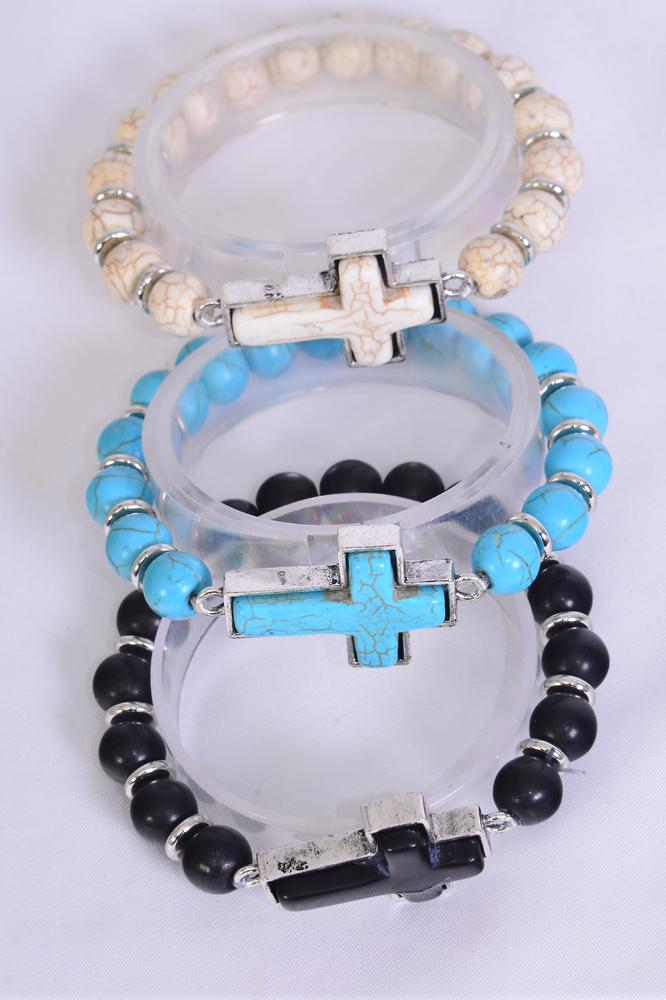 "Bracelet Sideway Cross 10 mm Semiprecious Stone Stretch/DZ match 75023 **Stretch** Cross-1.5""x 1"" Wide,4 Black,4 Ivory,4 Turquoise Asst,Hang Tag & OPP Bag & UPC Code"