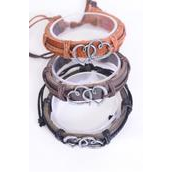 Bracelet Real Leather Band Silver Double Hearts/DZ **Unisex** Adjustable,4 of each Color Mix,Individual Hang tag & OPP Bag & UPC Code