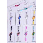 Bracelet Enamel Unicorn Rhinestone Bezel Multi/DZ match 00071 27678 Pull-String, Adjustable,12 Color Mix,Indivadual Hang tag & OPP Bag & UPC Code,1 Dozen per Card