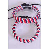Bracelet Real Leather Band Woven Style Ombre Patriotic Adjustable/DZ **UNISEX** Adjustable,Hang Tag & OPP Bag & UPC Code