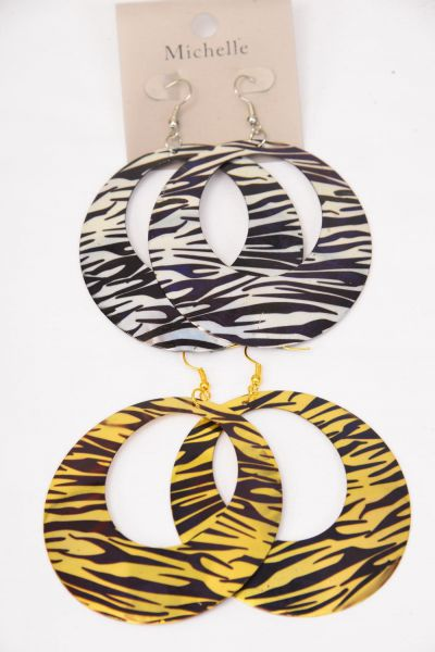 acrylic supplies acetate connector AT0015-ZB 37mm Zebra color Round pendant necklace earring supplies - 2 Pieces