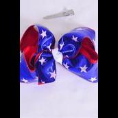 "Hair Bow Jumbo Double Layered Metallic Patriotic-Star Grosgrain Bow-tie/DZ **Alligator Clip** Size-6""x 5"" Wide,Clip Strip & UPC Code"