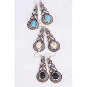 """Earrings Metal Antique Semiprecious Stone/DZ match 75027 **Fish Hook** Size-1.75""""x 0.75"""" Wide,4 Black,4 Ivory,4 Turquoise Asst,Earring Card & OPP Bag & UPC Code -"""