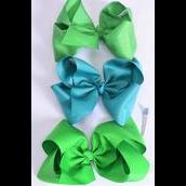 """Hair Bow Jumbo Green Mix Grosgrain Bow-tie/DZ **Green Mix** Alligator Clip** Size-6""""x 5"""" Wide,4 Classic Green, 4 Jade Green,4 Lime Green Asst,Clip Strip & UPC Code"""